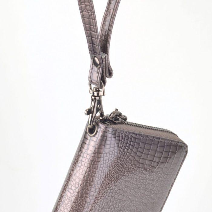 Kožená lakovaná peněženka šedá – 2102 A S