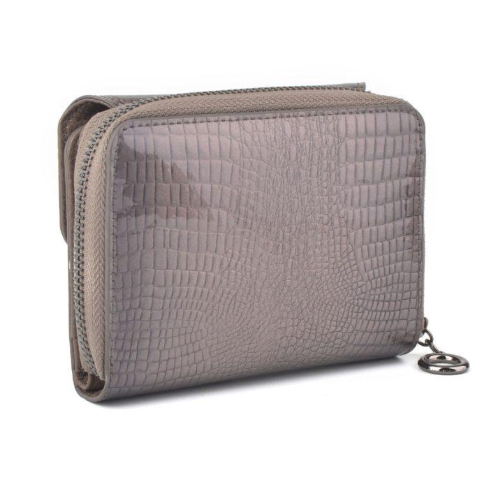 Kožená lakovaná peněženka šedá – 2104 A S